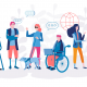 A group of outline cartoon humans, some with visible disabilities. interact with varuious graphics depicting aspects of the modern digital world